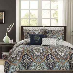 Comforter Olivia Gray Juego De 9 Piezas Reversible