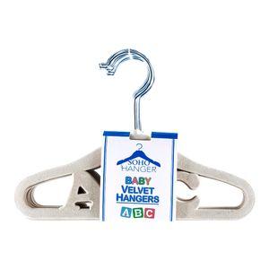 Ganchos Para Ropa Infantil de Terciopelo Crema 10 Piezas
