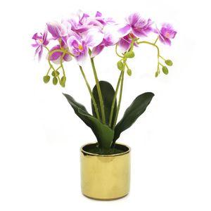 Flores Artificiales Orquídeas Home Elegance en Pote de Cerámica - Surtido