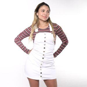 Overall Falda Jean Cafe 7 Para Dama