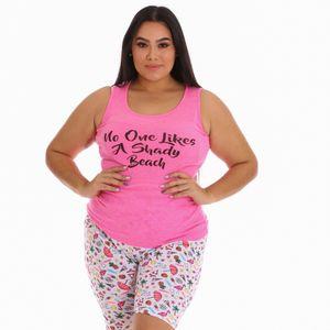 Conjunto de Pijama Bermuda Sleep Junkie Para Dama Talla Grande
