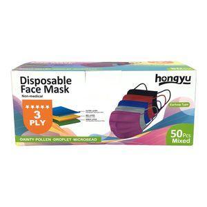 Mascarilla Desechable 3 Pliegues 50 Piezas Colores