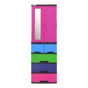 Armario con Espejo Plastimas de Plástico Apariencia Rattan 4 Niveles - Multicolor - [OFERTA EXCLUSIVA ONLINE]
